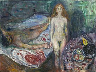 The Death of Marat - One of two versions of Death of Marat made by Edvard Munch in 1907