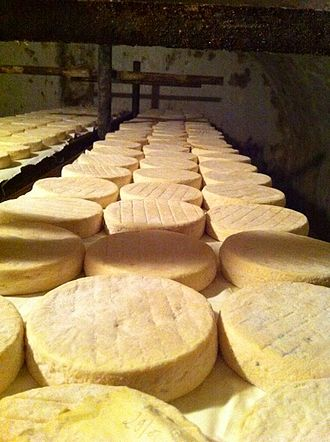 Munster cheese - Muenster cheese being produced