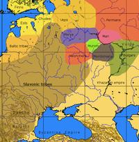 Un mapa aproximado de las culturas en la parte europea de Rusia a la llegada de los varegos.