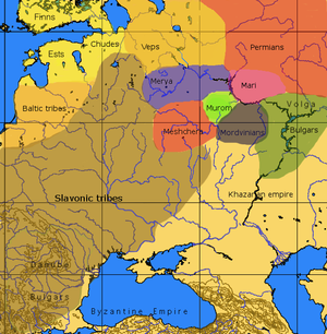 Volga Finns - Approximate ethno-linguistic map of European Eastern Kievan Rus in the 9th century: The five Volga Finnic groups of the Merya, Mari, Muromians, Meshchera and Mordvins  are shown as surrounded by the Slavs to the west, the (Finnic) Veps to the northwest, the Permians to the northeast the (Turkic) Bulghars and  Khazars to the southeast  and south.