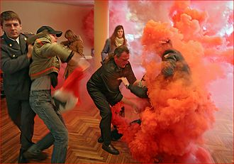 2007 Russian legislative election - National Bolsheviks attack a polling station in Odintsovo, Moscow Oblast during Russian legislative election, 2007 protesting their ban from the elections