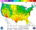 Sample maximum temperature map from the NDFD