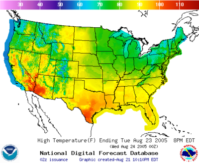 Sample maximum temperature map from the NDFD. NDFD-sample-max-temp.png