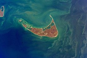 Image satellite de l'île de Nantucket.