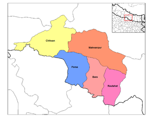 Narayani Zone - Image: Narayani districts