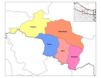Narayani Zone - Image: Narayani districts
