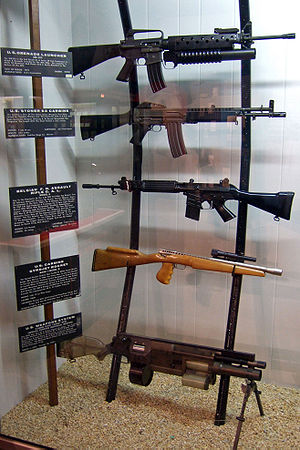 FN CAL - Multiple firearms on display at the National Firearms Museum. The FN CAL is the middle one.