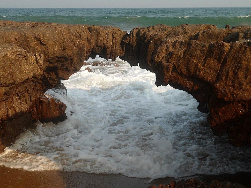 Natural arch (water eroded) at Thotlakonda beach 02