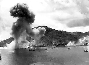 Navy bombers attack Japanese warships during raid on Truk.jpg