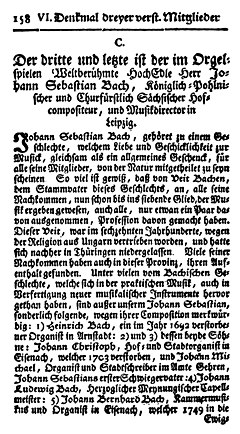 "First page of Bach's Nekrolog by Carl Philipp Emanuel Bach and Johann Friedrich Agricola, as published in Mizler's Musikalische Bibliothek, Volume IV Part 1 (1754). Despite the errors contained in it, this obituary of less than 20 pages is arguably ""the richest and most trustworthy"" source on Bach produced before the 19th century.[50] (Source: Wikimedia)"