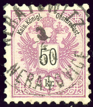 Neratovice - Austrian KK 50 kreuzer, bilingual cancelled NERATOWITZ - NERATOVICE  in 1891