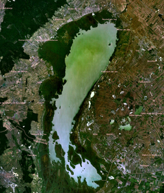 Neusiedler See  Fertő tó - Satellite image of the Neusiedler See