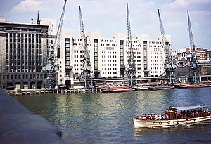 Fresh Wharf - New Fresh Wharf in the mid-1960s with lighters moored at the quayside