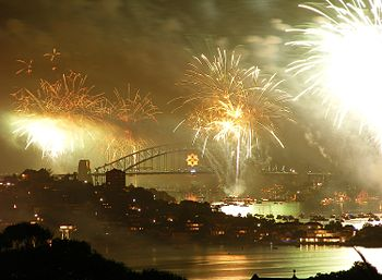 English: Fire works on Sydney Harbour 2008-9