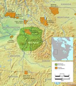 Original Nez Perce Territory Green And The Reduced Reservation Of 1863 Brown