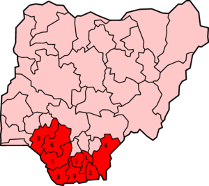 A map of Nigeria with the states comprising the Niger Delta highlighted and numbered.