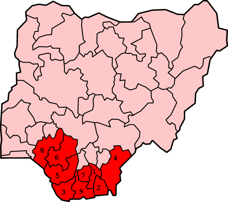 Map of Nigeria numerically showing states typically considered part of the Niger Delta region: 1. Abia, 2. Akwa Ibom, 3. Bayelsa, 4. Cross River, 5. Delta, 6. Edo, 7.Imo, 8. Ondo, 9. Rivers NigerDeltaStates.png