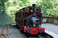 No.2 Dolgoch Arriving at Nant Gwernol Station, Gwynedd (geograph 3018314).jpg