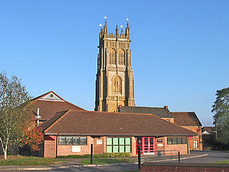 North Petherton - The community centre with St Mary's church tower behind