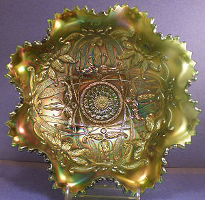 Carnival glass - Example of a green Northwood Wishbone bowl.