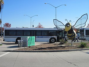 Norwalk station (Los Angeles Metro) - A freestanding bee sculpture greets visitors to the station.