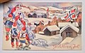 "Norway's WW2 Resistance Museum, Oslo (Hjemmefrontmuseet). The Austerity of Occupation. ""God Norsk Jul!"", wartime Christmas card in Norwegian colours, julekort med nisser, Frank Watne 1941. Lightened, stretched photo 2017-11-30.jpg"
