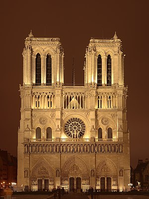 A night sight of the Notre Dame de Paris cathe...