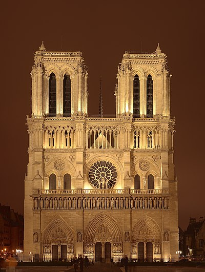The medieval cathedral Notre Dame dedicated to the Virgin Mary, Paris France, was built in the years 1163-1345. NotreDameDeParis.jpg