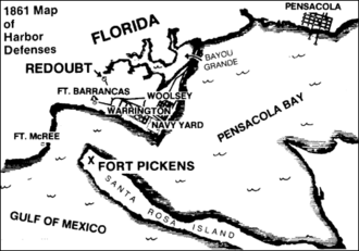 Fort Barrancas - Sketch showing 1861 harbor defenses at entrance to Pensacola Bay. The town of Warrington (shown east of Fort Barrancas) was relocated north of Bayou Grande in the 1930s to provide land for Naval Air Station Pensacola.
