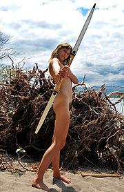 Nude female archer