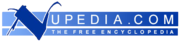 "Logo reading ""Nupedia.com the free encyclopedia"" in blue with large initial ""N""."