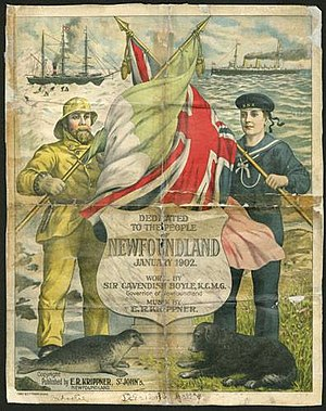 """Cavendish Boyle - Sheet music produced for the debut of """"Ode to Newfoundland"""" in 1902."""