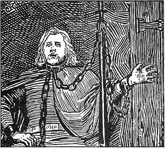 Skald - Bersi Skáldtorfuson, in chains, composing poetry after he was captured by King Óláfr Haraldsson (Christian Krohg's illustration from Heimskringla, 1899 edition)