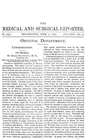 English: Front page of George Huntington's com...