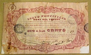 Italian scudo - 100 Scudi bond issued in the 19th century