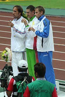 Alex Schwazer sul podio ai Mondiali di Osaka 2007.