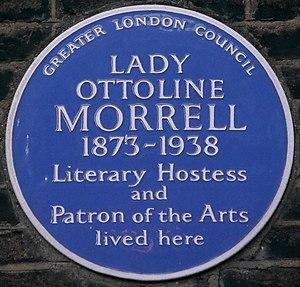 Lady Ottoline Morrell - Blue plaque, 10 Gower Street, London