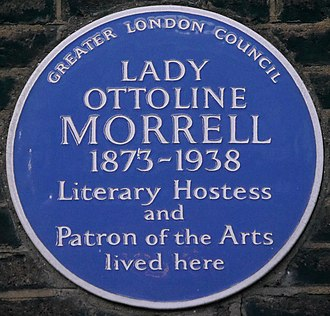 Lady Ottoline Morrell - Blue plaque, 10 Gower Street, London