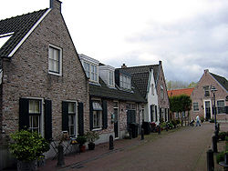 Street view of recreated old houses in Diemen