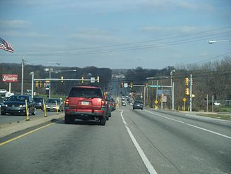 Pennsylvania Route 100 - PA 100 northbound at Shoemaker Road in Pottstown