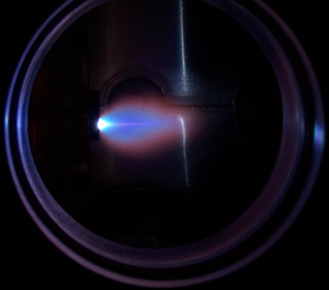 Pulsed laser deposition - A plume ejected from a SrRuO3 target during pulsed laser deposition.