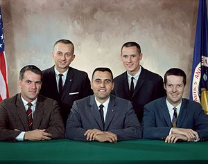 NASA Astronaut Group 4 - Back row, L-R: Garriott, Gibson. Front row, L-R: Michel, Schmitt, Kerwin.