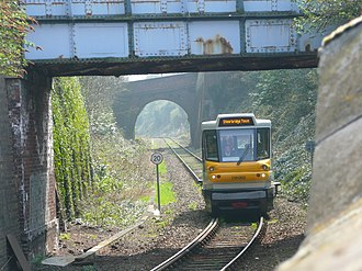 Stourbridge Town branch line - A Parry People Mover approaching Stourbridge Town station.