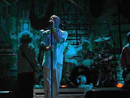 One of the first popular alternative rock bands, R.E.M. relied on college-radio airplay, constant touring, and a grassroots fanbase to break into the musical mainstream. Padova REM concert July 22 2003 blue.jpg