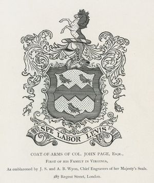John Page (Middle Plantation) - Coat of arms of Col. John Page of Middle Plantation
