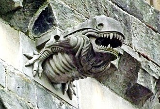 Parasitoid - A 1990s gargoyle at Paisley Abbey, Scotland resembling a Xenomorph parasitoid from the film Alien