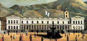 Carondelet Palace - Carondelet Palace during the mid-19th century after the March Revolution. Oil painting by Rafael Salas.