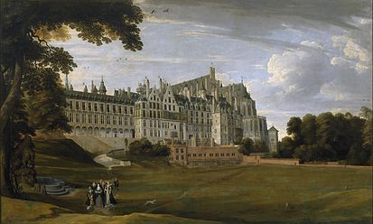 The Palace of Coudenberg from a 17th-century painting. Brussels served as the main revenue of the Imperial court of Charles V in the Low Countries. Paleis op de Koudenberg.jpg