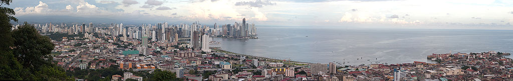The skyline of Panama City from Ancon Hill.