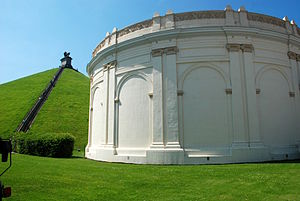 Panorama of the Battle of Waterloo - The exterior with the Lion Mound behind.